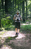 Человек гуляя в пущу Стоковое Изображение RF