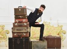 Человек, дворецкий с бородой и усик поставляют багаж, роскошную белую внутреннюю предпосылку Мачо элегантное на сотрясенной сторо стоковые фотографии rf