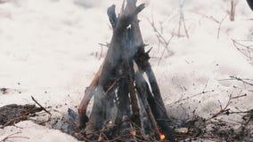 Человек делает лагерный костер в зиме в походе Поход концепции, прогулка, выживание, отключение в зиме сток-видео