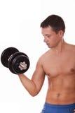 Человек делая тренировку для бицепса Стоковая Фотография RF