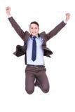 человек дела воздуха скача Стоковое Изображение RF