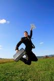человек дела скача Стоковые Фото