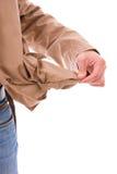 Человек держа его пустое карманн стоковые фотографии rf