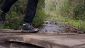 Человек детенышей подходящий бежать в древесинах Молодой спортсмен бежать в древесинах Стоковое Фото