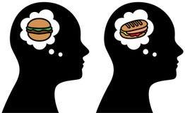 Человек думает о иллюстрации еды Стоковые Изображения