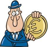 человек евро монетки иллюстрация вектора