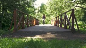 Человек едет велосипед через мост в парке движение медленное акции видеоматериалы