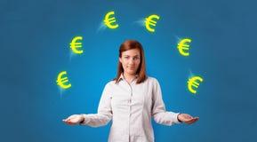 Человек жонглирует с символом евро иллюстрация штока