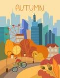 Человек задействуя через парк города в осени с красочной оранжевой листвой на деревьях схематических сезонов иллюстрация штока