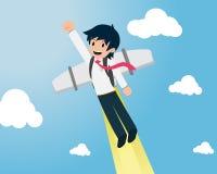 Человек 01 зарплаты летает быстро с пакетом двигателя бесплатная иллюстрация
