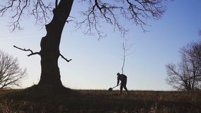 Человек засаживая дерево в поле Солнечный восход солнца, заход солнца силуэт Весна или лето видеоматериал