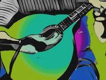 Человек играя португальскую гитару Влияния зеленых цветов иллюстрация штока