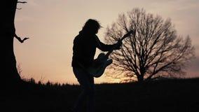 Человек играя электрическую гитару и поя в поле около дерева на заходе солнца силуэт акции видеоматериалы