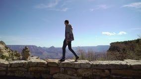 Человек идя в гранд-каньон акции видеоматериалы