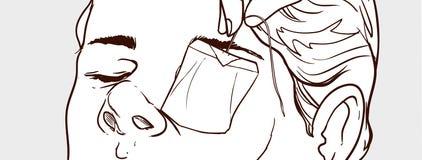 Человек иллюстрации вектора держа пакетики чая над глазами Стоковые Фото