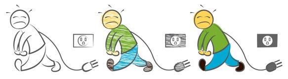 Человек имеет низкий уровень энергии Расстроенное чувство бизнесмена Знак низкой мощности Утомлянный на работе Характер, который  бесплатная иллюстрация