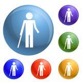 Человек инвалидности и вектор здоровых значков ребенк установленный бесплатная иллюстрация