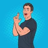 Человек искусства шипучки уверенно представляя с жестом оружия пальца ванта радостная иллюстрация штока
