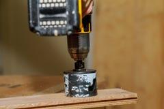 Человек используя буровой наконечник батареи использующий энергию для того чтобы просверлить отверстие в деревянной планке стоковое изображение rf