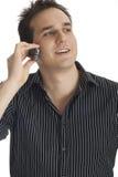 Человек используя мобильный телефон Стоковое фото RF