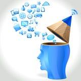 Человек идеи - интернет и социальные средства Стоковое Фото