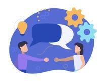 Человек и женщина встречают один другого для того чтобы трясти руки Партнеры связывают и говорить Бизнесмены обсуждают, новости,  иллюстрация вектора