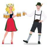 Человек и женщина в костюмах Oktoberfest r o иллюстрация вектора