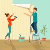 Человек и женщина клеят обои дома Иллюстрация стиля вектора плоская Стоковое Фото