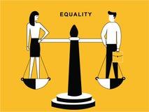 Человек и женщина на балансе иллюстрация вектора