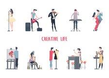 Человек и женщина на работе искусства, творческой работе бесплатная иллюстрация