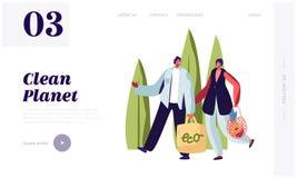 Человек и женщина носят продукты в сумках бумаги и строки Упаковка Eco е иллюстрация штока