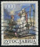 Человек и женщина нося фольклорные костюмы Kotor Стоковая Фотография RF