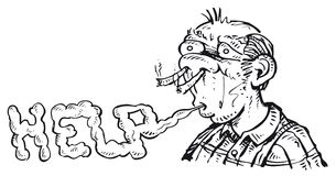 Человек и куря наркомания Стоковые Фотографии RF