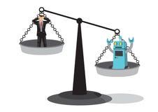 Человек и робот на масштабе утяжеления Показывает автоматизацию, futu Стоковые Изображения