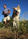 Человек и собака в луге Стоковые Фотографии RF