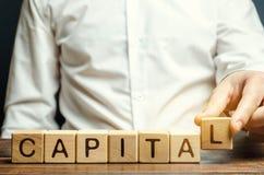 Человек кладет деревянные блоки со столицей слова Материал, интеллигент и финансовые ресурсы сочетания из используемые для выгоды стоковые изображения rf