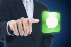 человек кнопки отжимая сенсорный экран Стоковое Изображение