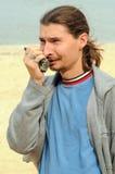человек - комплект портативного радио Стоковая Фотография