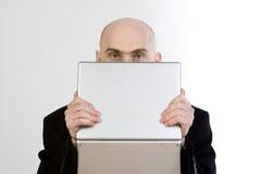 человек компьтер-книжки удерживания Стоковое Изображение RF