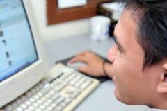 человек компьютера Стоковые Фотографии RF