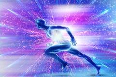Человек конспекта уникальный художественный идущий с накаляя сердцем в пестротканой предпосылке иллюстрация вектора