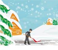 Человек копая снег на ландшафте зимы бесплатная иллюстрация