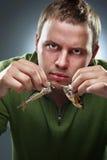 человек корпулентных рыб голодный Стоковое Фото
