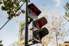 Человек красного цвета светофоров стоящий Стоковая Фотография