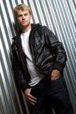 человек куртки кожаный Стоковое фото RF
