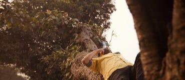 Человек куря сигарету лежа на частях дерева стоковое фото