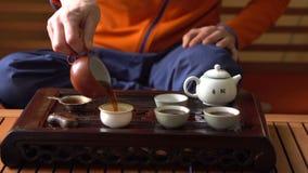 Человек лить чай Puer в чайнике на церемонии чая традиционного китайския Комплект оборудования для выпивая чая акции видеоматериалы