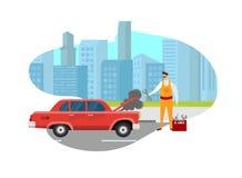 Человек механика выглядя сломленным автомобилем на дороге в городе бесплатная иллюстрация