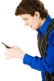 человек мобильного телефона удивил Стоковое Фото