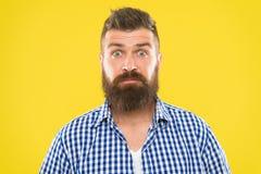 Человек моды с бородой бородатый человек Зверский кавказский битник с усиком удивленный человек на желтой предпосылке возмужало стоковое фото rf